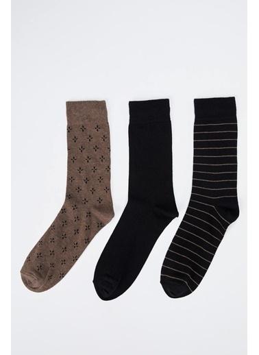 DeFacto Desenli Soket Çorap 3'lü Kahve